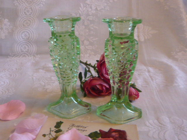Z/SOLD - A PAIR OF ART DECO GREEEN GLASS CANDLESTICKS