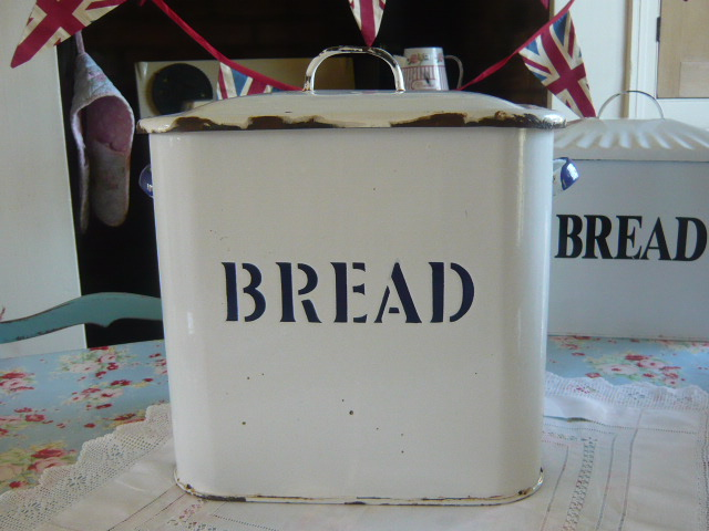 Z/SOLD -RARE EMBOSSED ENAMEL BREAD BIN