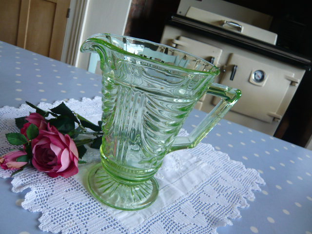z/sold  ART DECO GREEN GLASS JUG