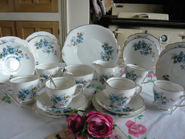 Z/SOLD VINTAGE CHINA BLUE FLORAL TEA SET BY DUCHESS (C186)