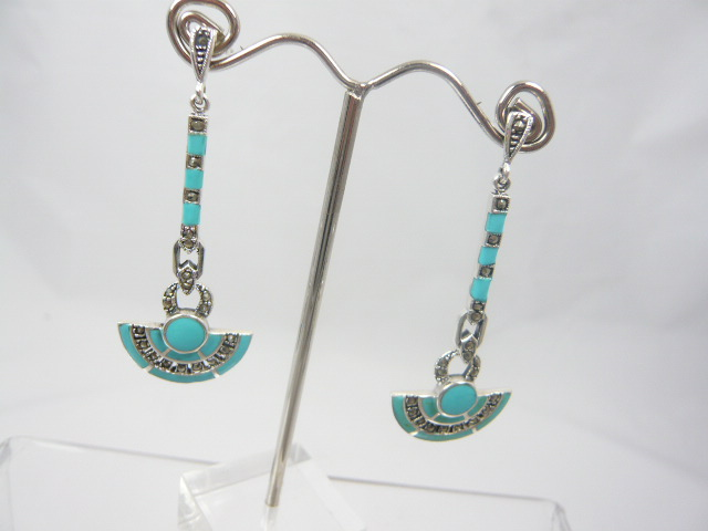 z/sold  A PAIR OF SILVER & TURQUOISE ART DECO DROP EARINGS