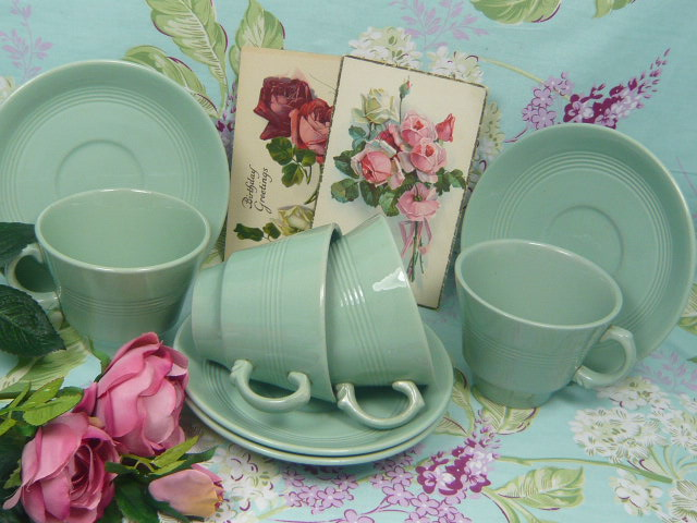 "z/sold WOODS WARE ""BERYL"" TEA SET vintage"