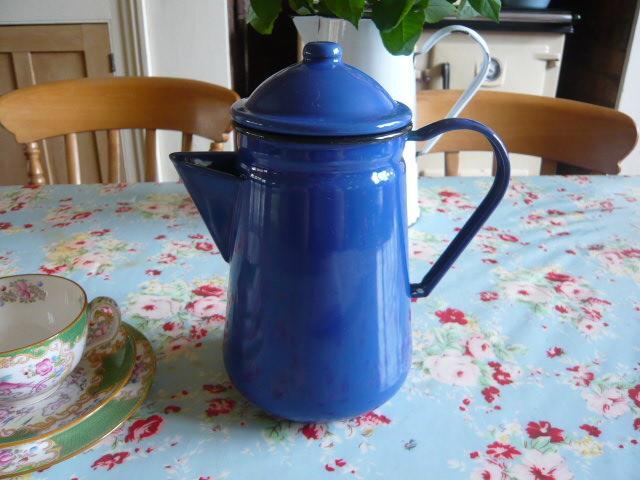 Z/SOLD - A FRENCH BLUE ENAMEL COFFEE POT