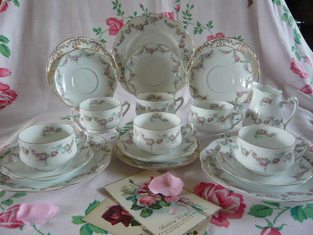 Z/SOLD - VINTAGE MISMATCHED TEA SET (C228)