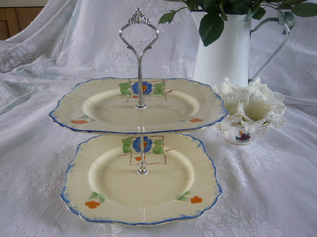 Z/SOLD - ART DECO 2 TIER CHINA CAKESTAND - BLUE FLOWERS