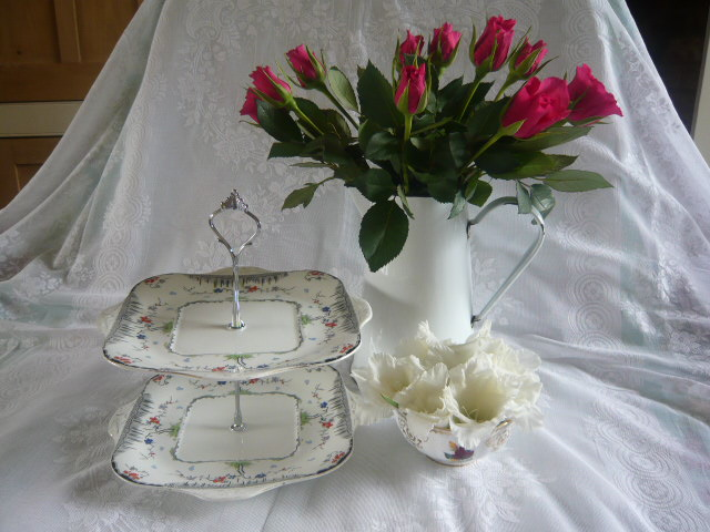 Z/SOLD ART DECO 2 TIER CHINA CAKESTAND - DITSY FLOWERS