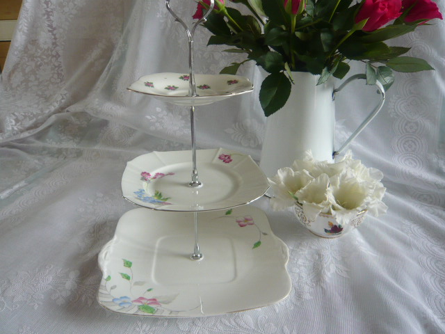 Z/SOLD - ART DECO 3 TIER CHINA CAKESTAND