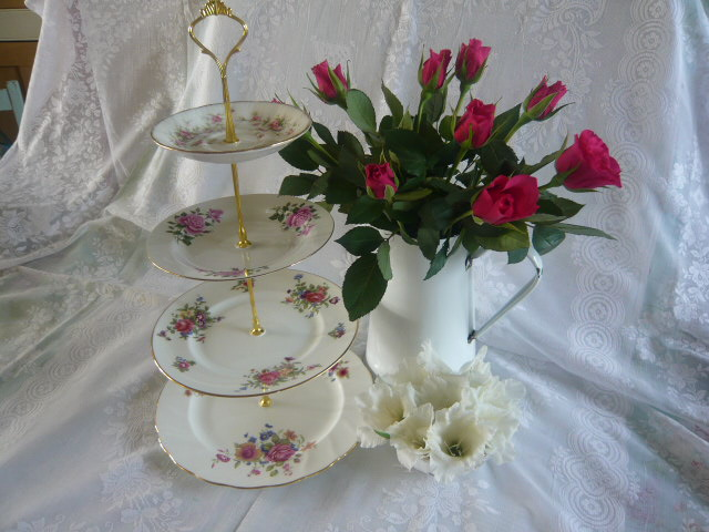 Z/SOLD - VINTAGE 4 TIER CAKE STAND pink roses ditsy blue flowers