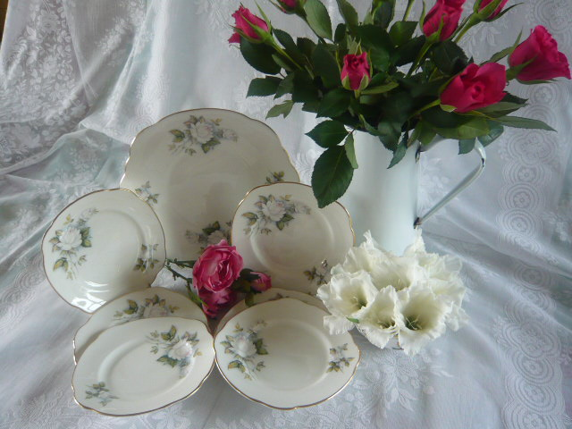 VINTAGE DUCHESS ICE MAIDEN CAKE PLATE AND TEA PLATES