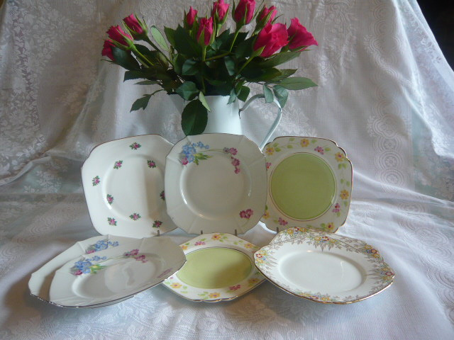 Z/SOLD - SET OF MISMATCHED ART DECO TEA PLATES