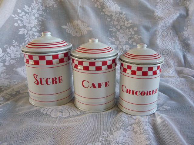 Z/SOLD - A SET OF FRENCH ENAMEL TEA COFFEE SUGAR JARS