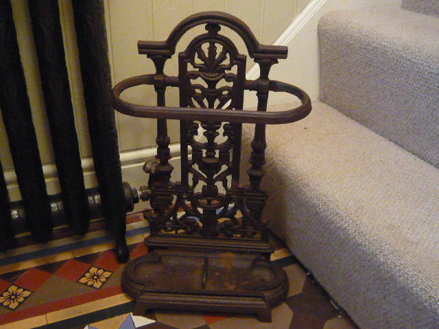 Z/SOLD - VINTAGE CAST IRON UMBRELLA STAND