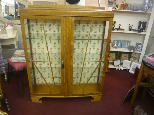 Z/SOLD  ART DECO OAK DISPLAY CABINET