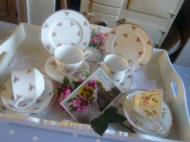 z/sold  MIX-N-MATCH VINTAGE TEA SET  PINKS