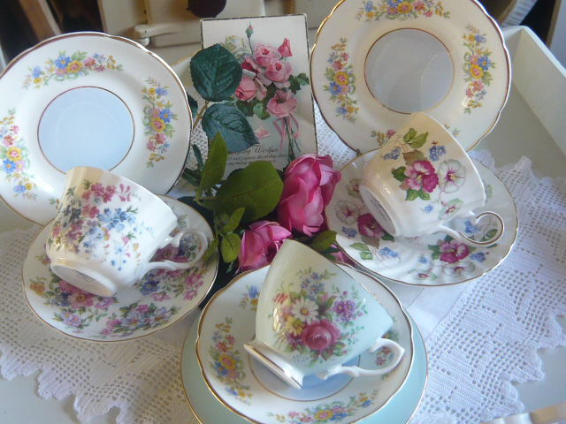 z/sold  MIX-N-MATCH VINTAGE TEA SET  for 3 in PINKS
