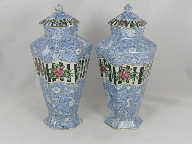 Z/SOLD -VINTAGE BLUE & WHITE CHINTZ VASES