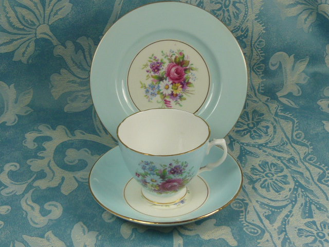 Z/SOLD - VINTAGE DORCHESTER CHINA FLORAL TRIO