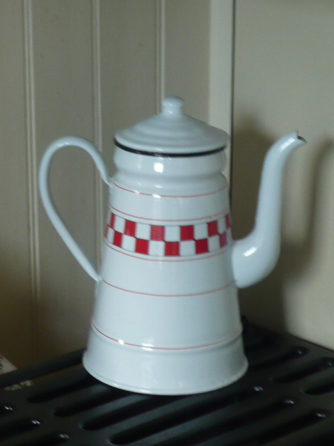 z/sold   FRENCH ENAMEL RED & WHITE COFFEE POT