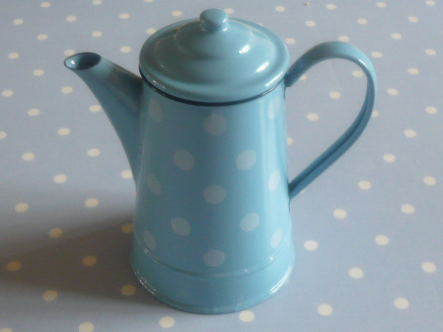 Z/SOLD  A FRENCH ENAMEL BLUE SPOTTY COFFEE POT