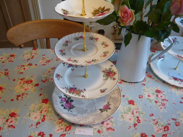 Z/SOLD A PRETTY MISMATCHED CHINA CAKE STAND  4 TIER