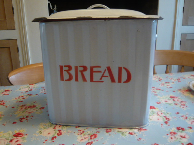 Z/SOLD - RARE RED & WHITE VINTAGE ENAMEL BREAD BIN
