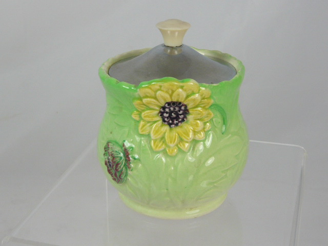Z/SOLD -VINTAGE SHORTER FLORAL HONEY POT