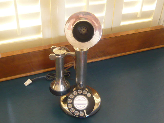 z/sold  VINTAGE CHROME CANDLESTICK TELEPHONE