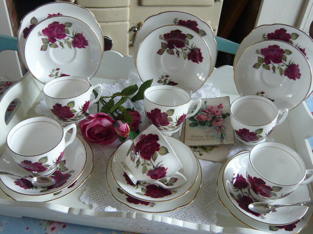 z/sold  ROSES VINTAGE TEASET by Duchess China