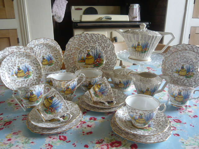 Z/SOLD BEAUTIFUL CRINOLINE LADY TEA SET