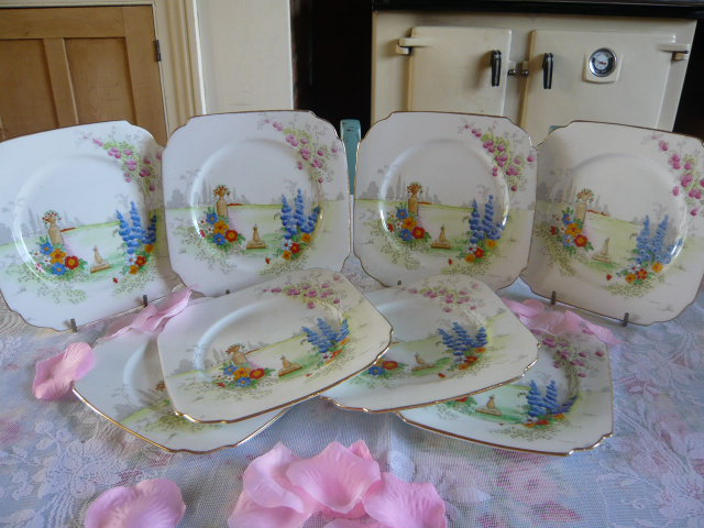 Z/SOLD - ART DECO SUNDIAL TEA PLATES