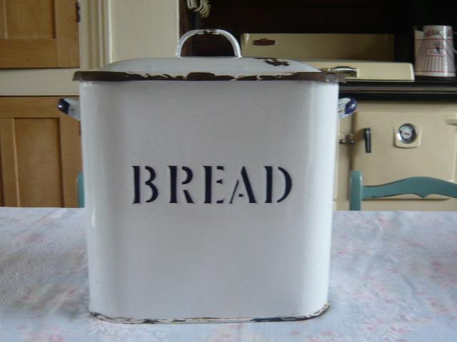 Z/SOLD - ENAMEL VINTAGE BREAD BIN