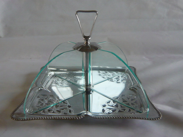 Z/SOLD - ART DECO GLASS & CHROME CAKE STAND