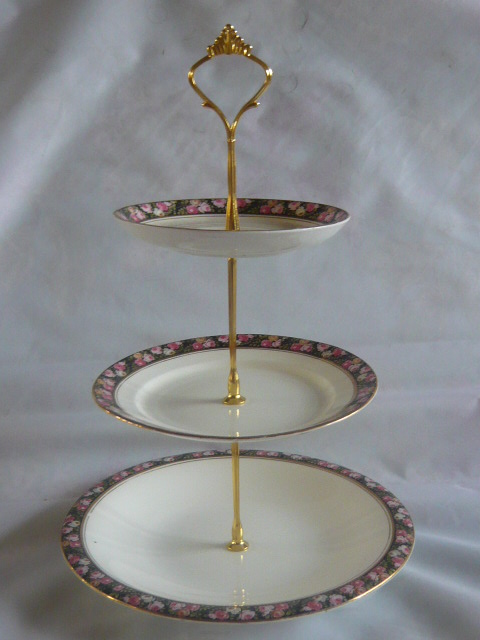 Z/SOLD - VINTAGE GRAFTON CHINA POMPADOUR 3-TIER CAKE STAND