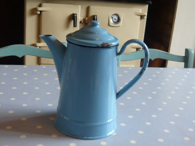 Z/sold  FRENCH BLUE ENAMEL COFFEE POT/TEA POT