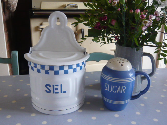 z/sold  FRENCH  ENAMEL BLUE & WHITE SALT POT