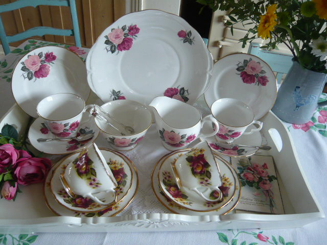 Z/SOLD  VINTAGE TEASET MIX-N-MATCH WITH ROSES