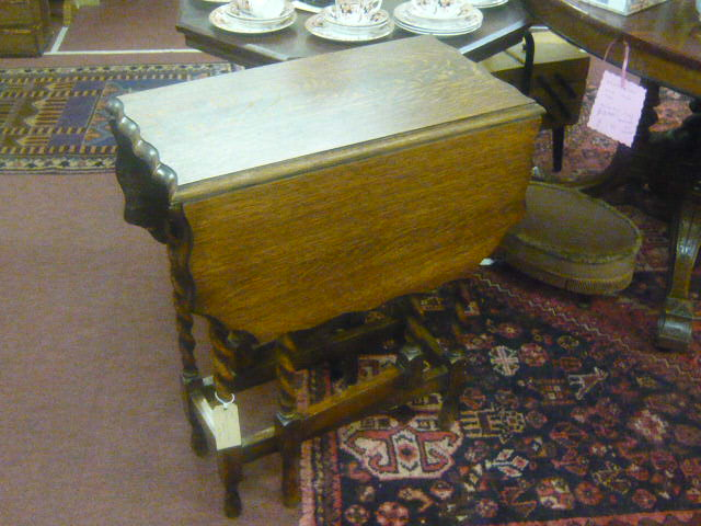 Z/SOLD  BARLEY TWIST DROP LEAF TABLE