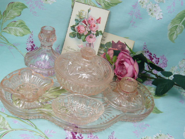Z/SOLD   PINK GLASS DRESSING TABLE SET